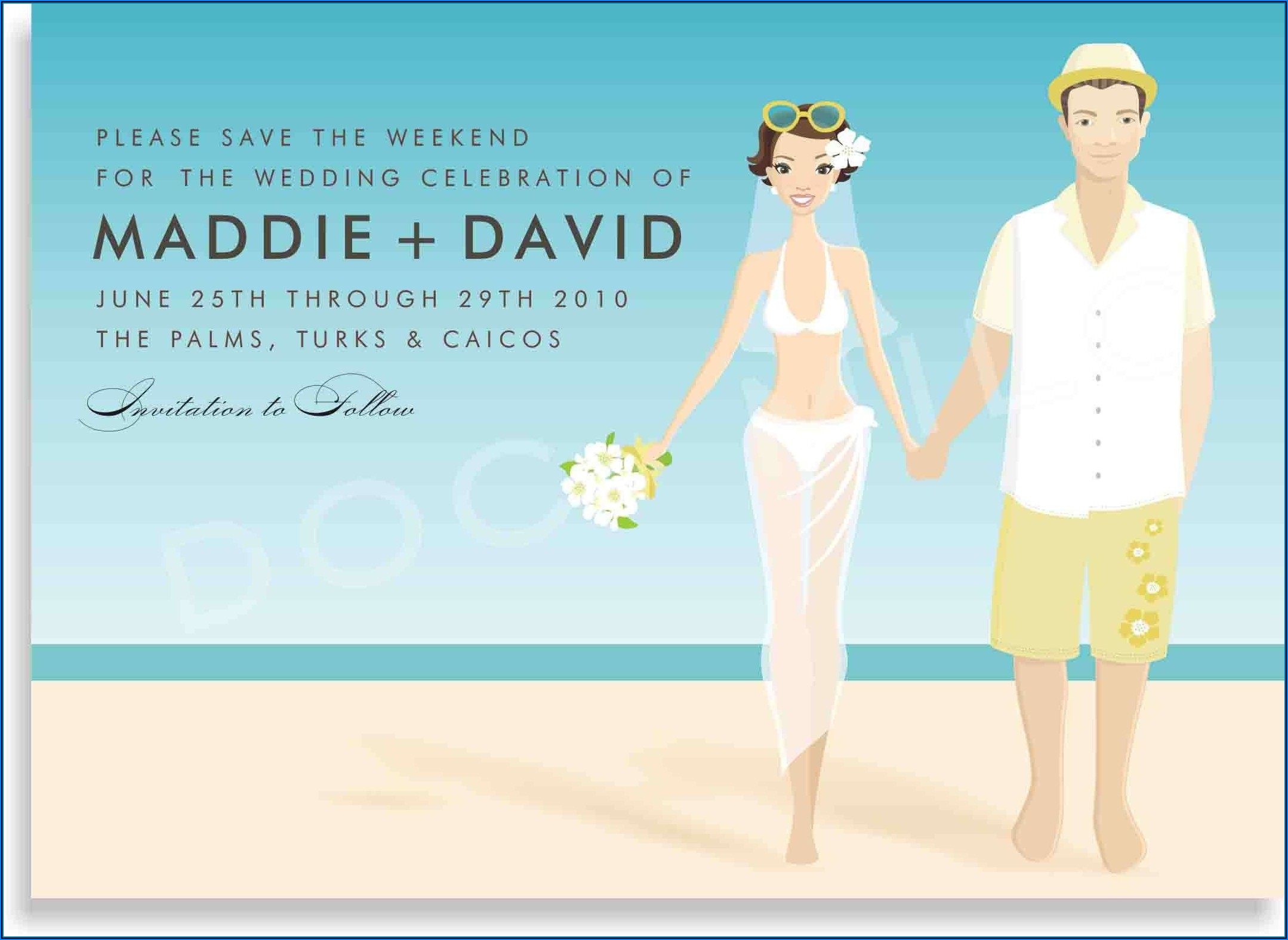 Wedding Invitation Templates Beach Theme