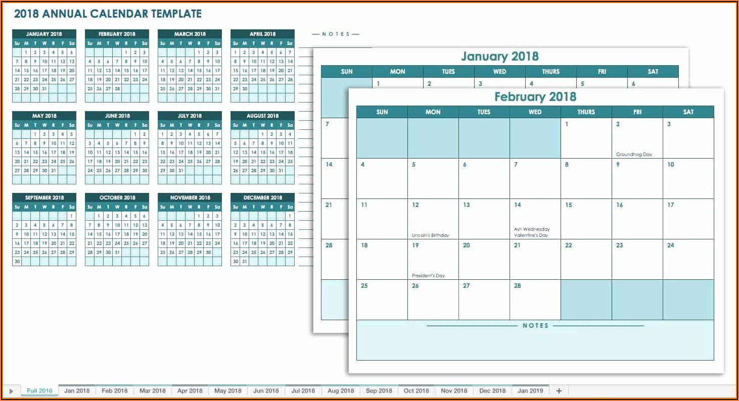 Work Plan Calendar Template 2018
