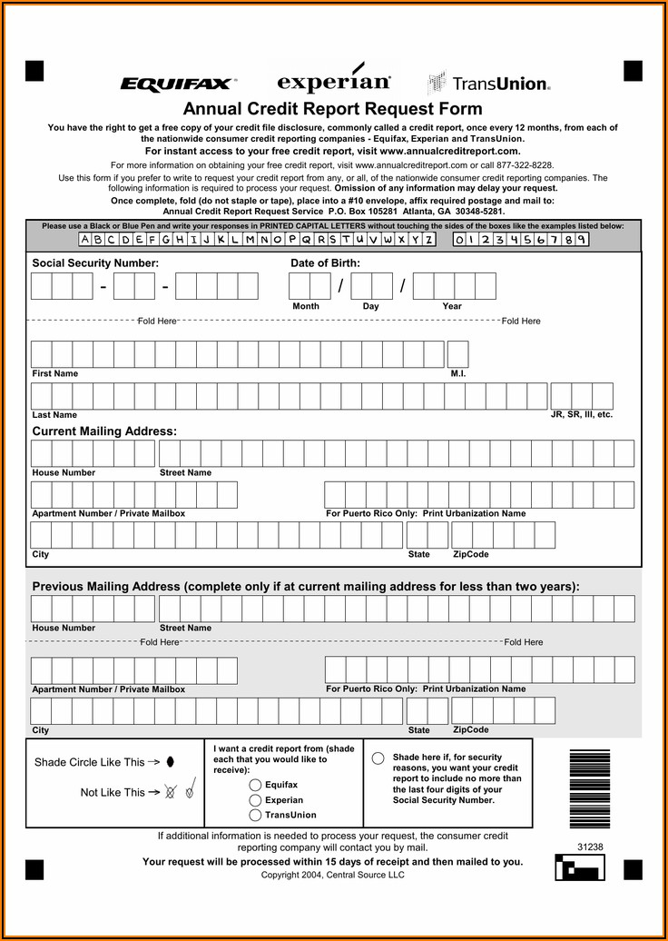 Www.annual Credit Report Request Form