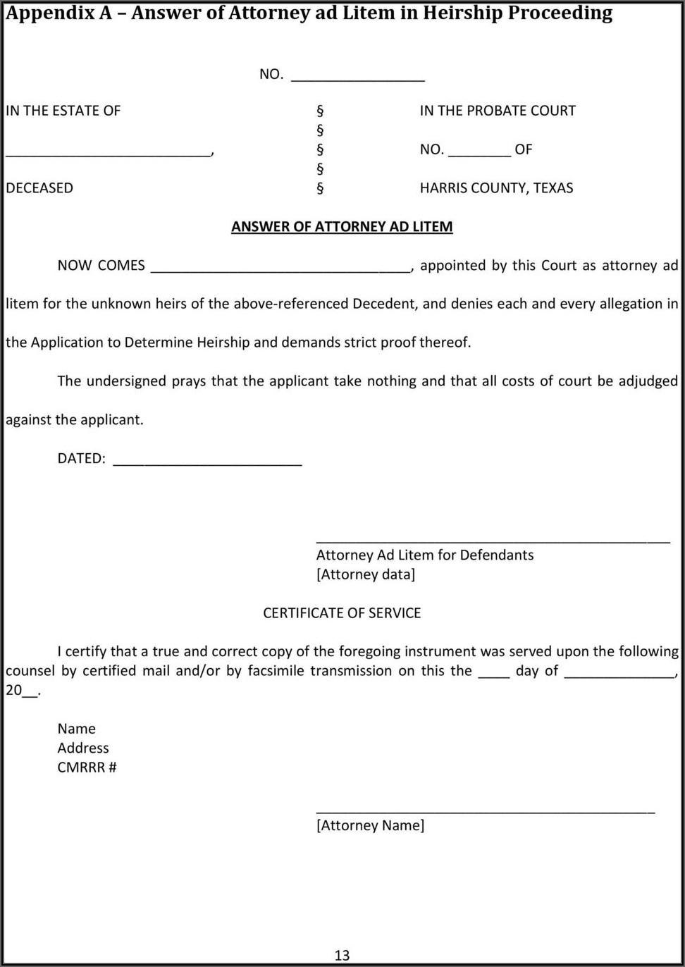 Affidavit Of Heirship Form Harris County Texas