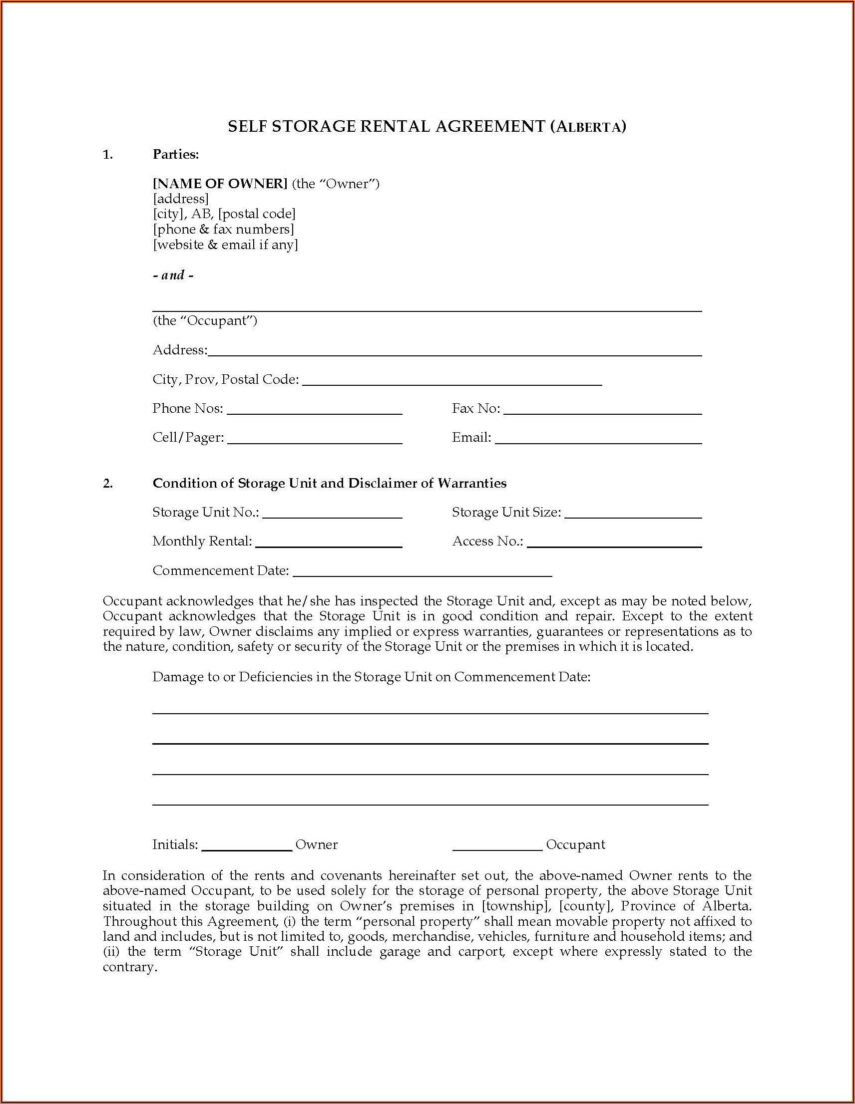 Alberta Rental Agreement Contract