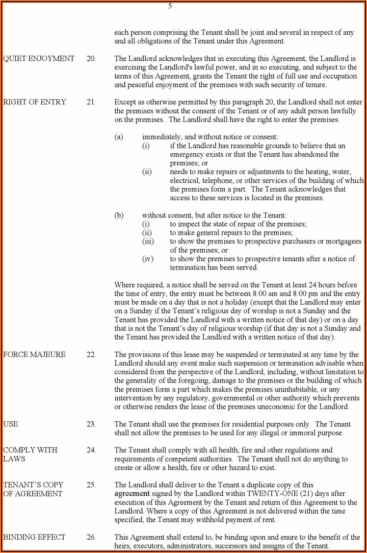 Alberta Residential Tenancy Agreement Form