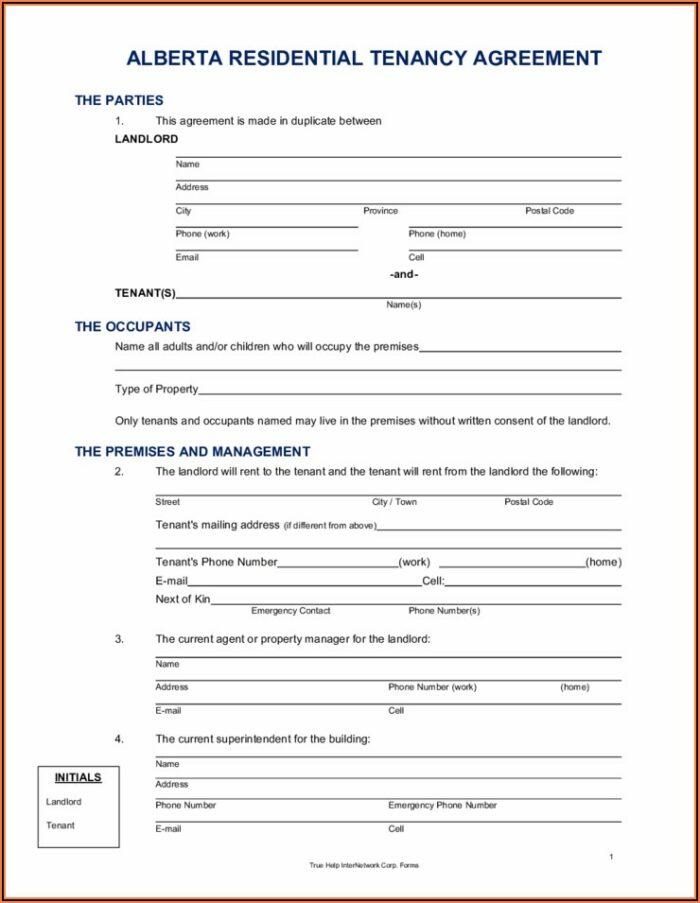 Alberta Tenant Agreement Form