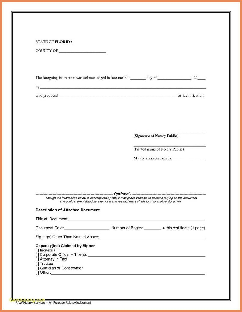 Blank Notary Form Nc