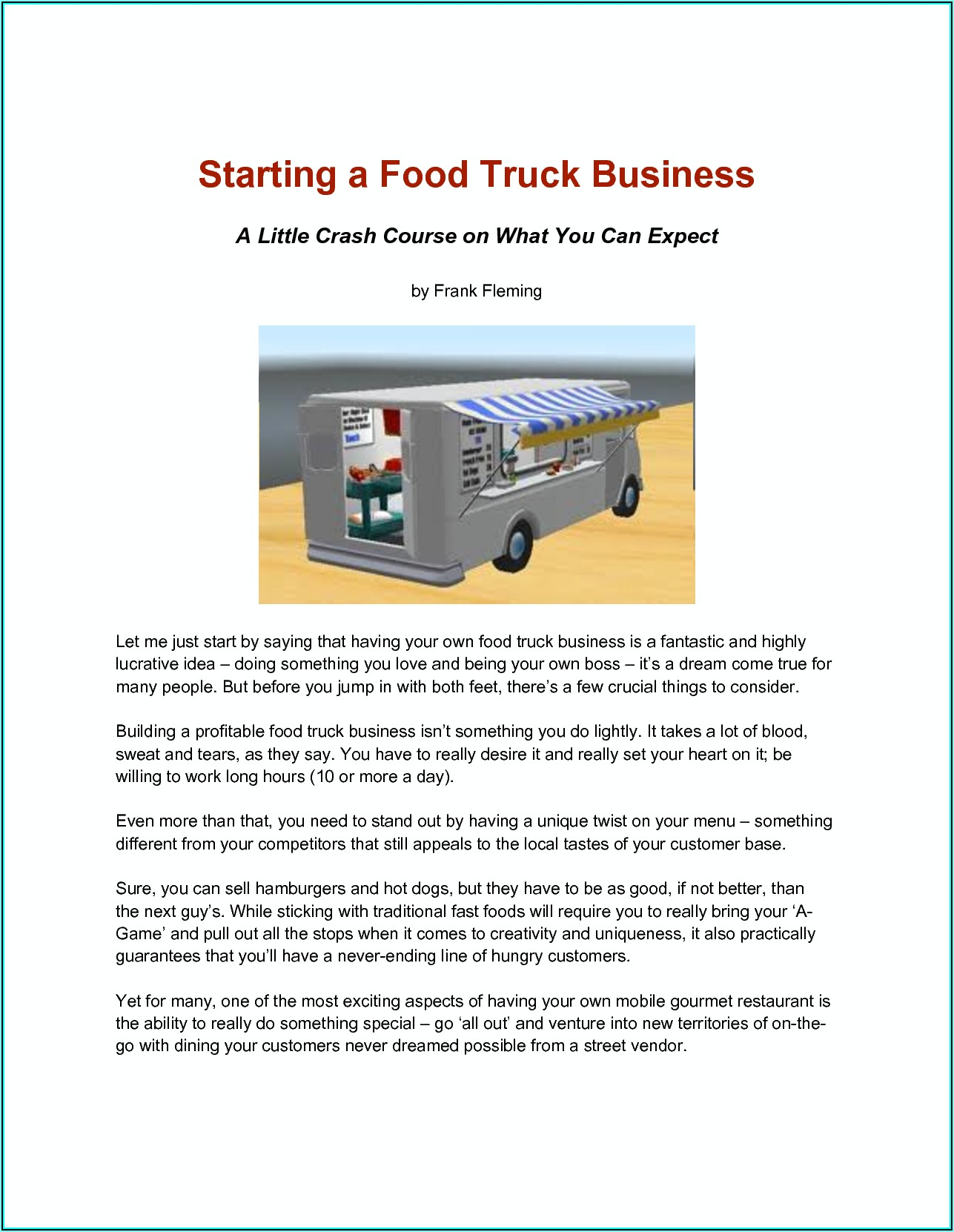 Business Plan Template Food Truck