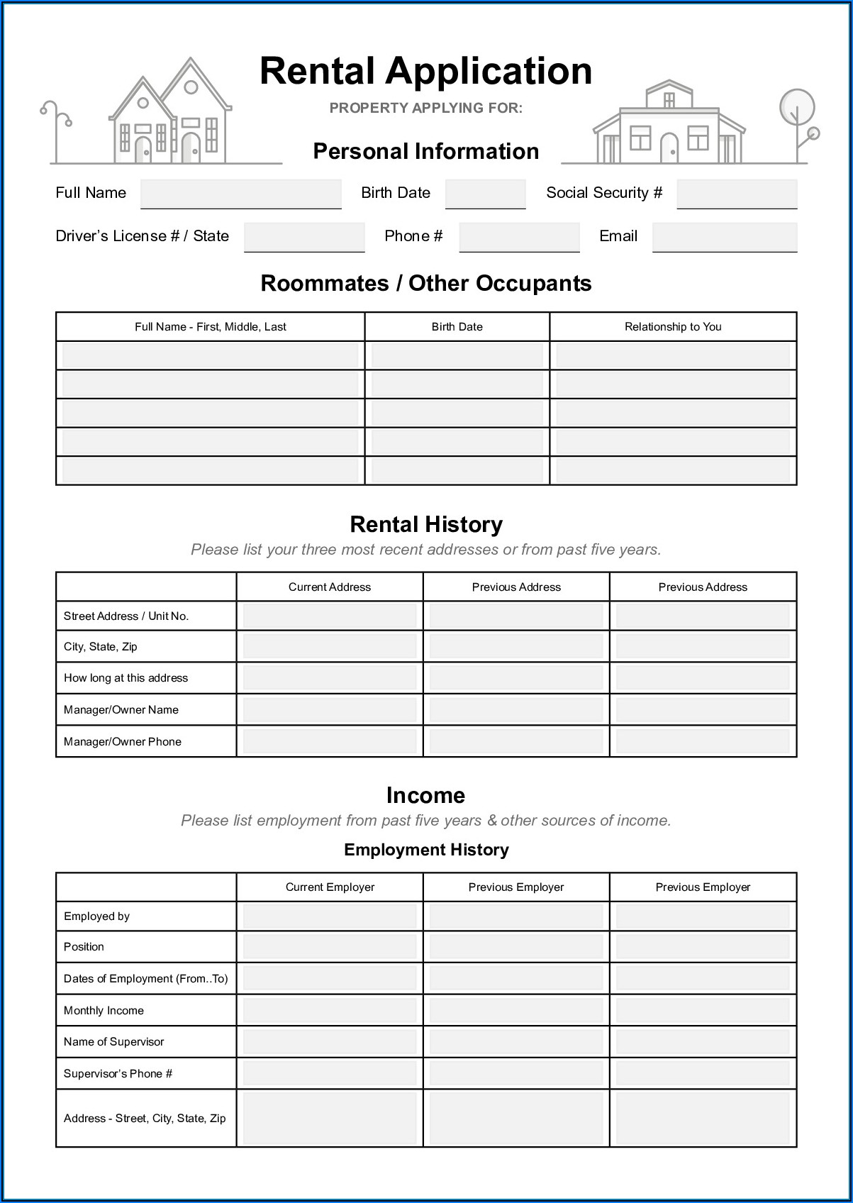 California Housing Rental Application Form