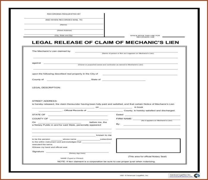 California Mechanics Lien Form 2019 Pdf