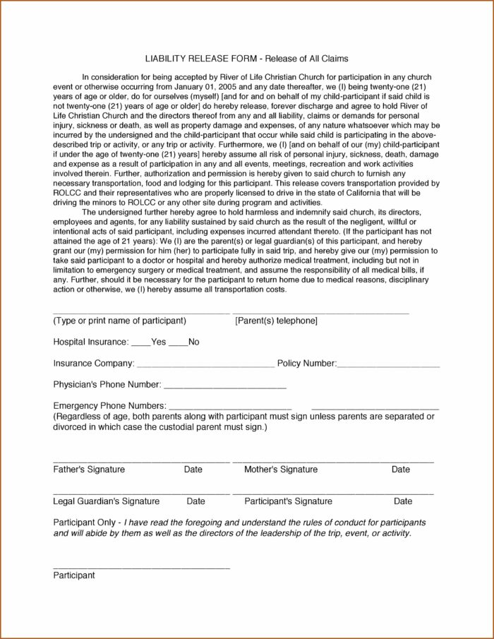 California Release Of Liability Forms Free