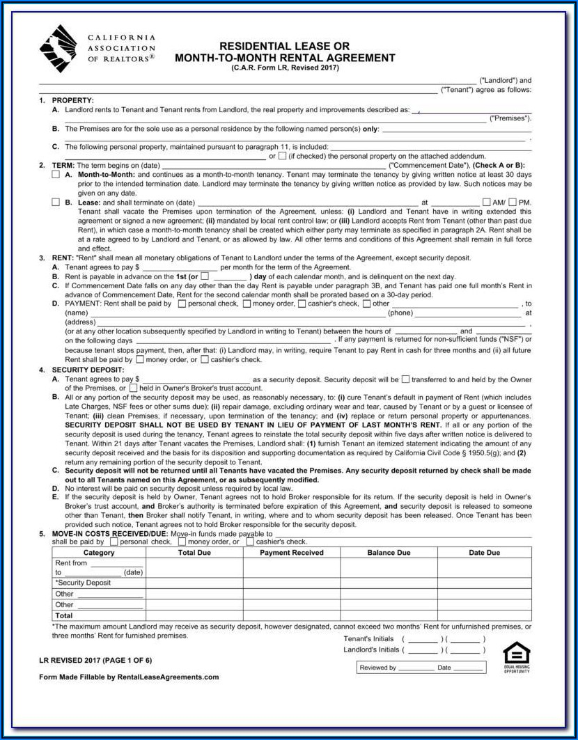 California Residential Lease Agreement Blank Form