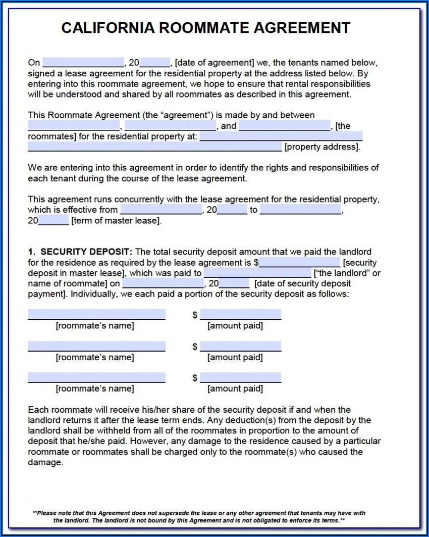 California Residential Rental Agreement Form