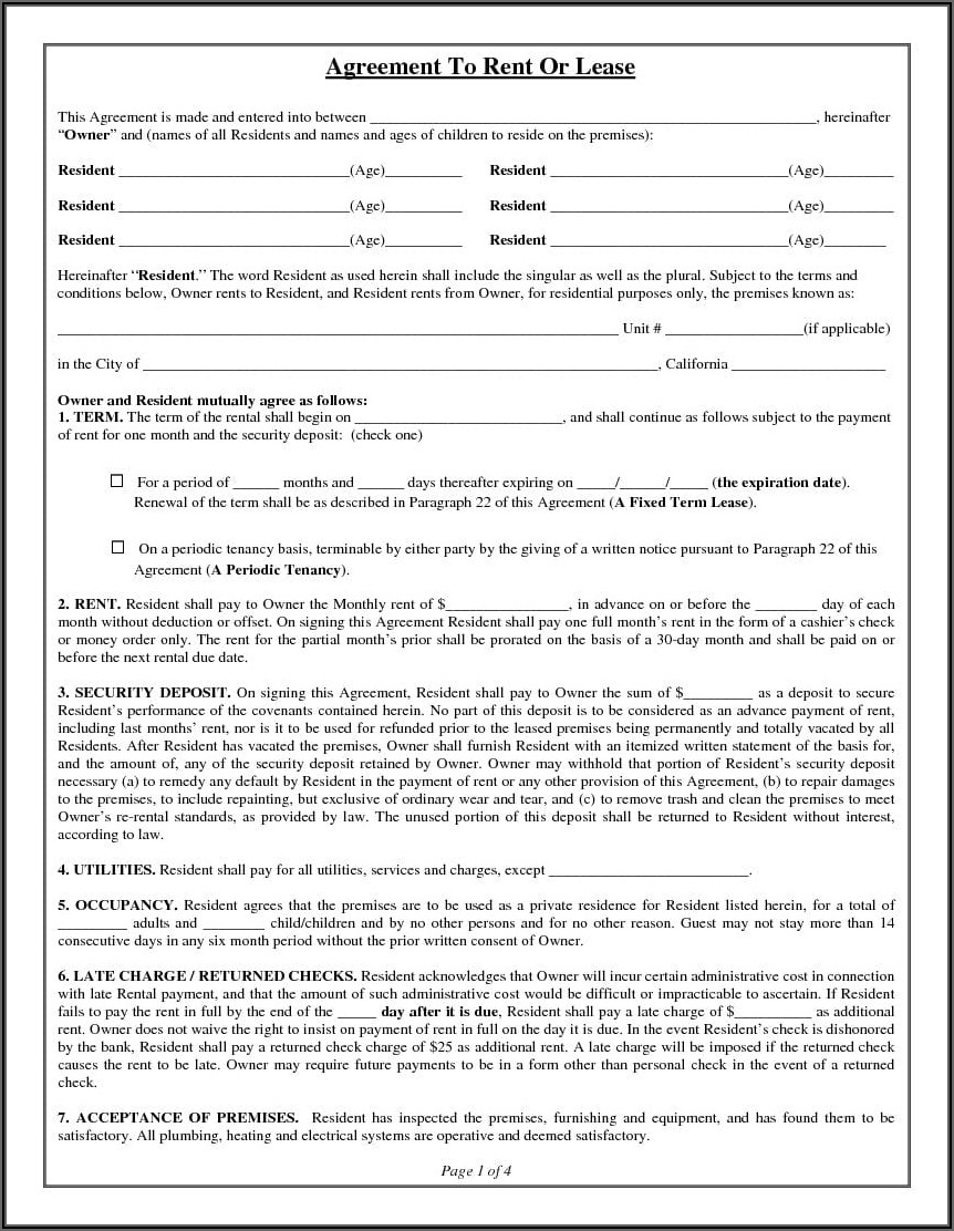 California Residential Rental Lease Application Form