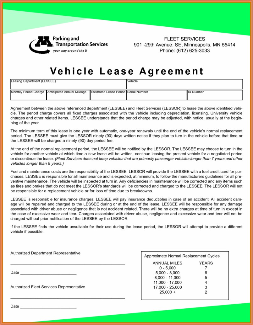 Car Lease Agreement Form Pdf
