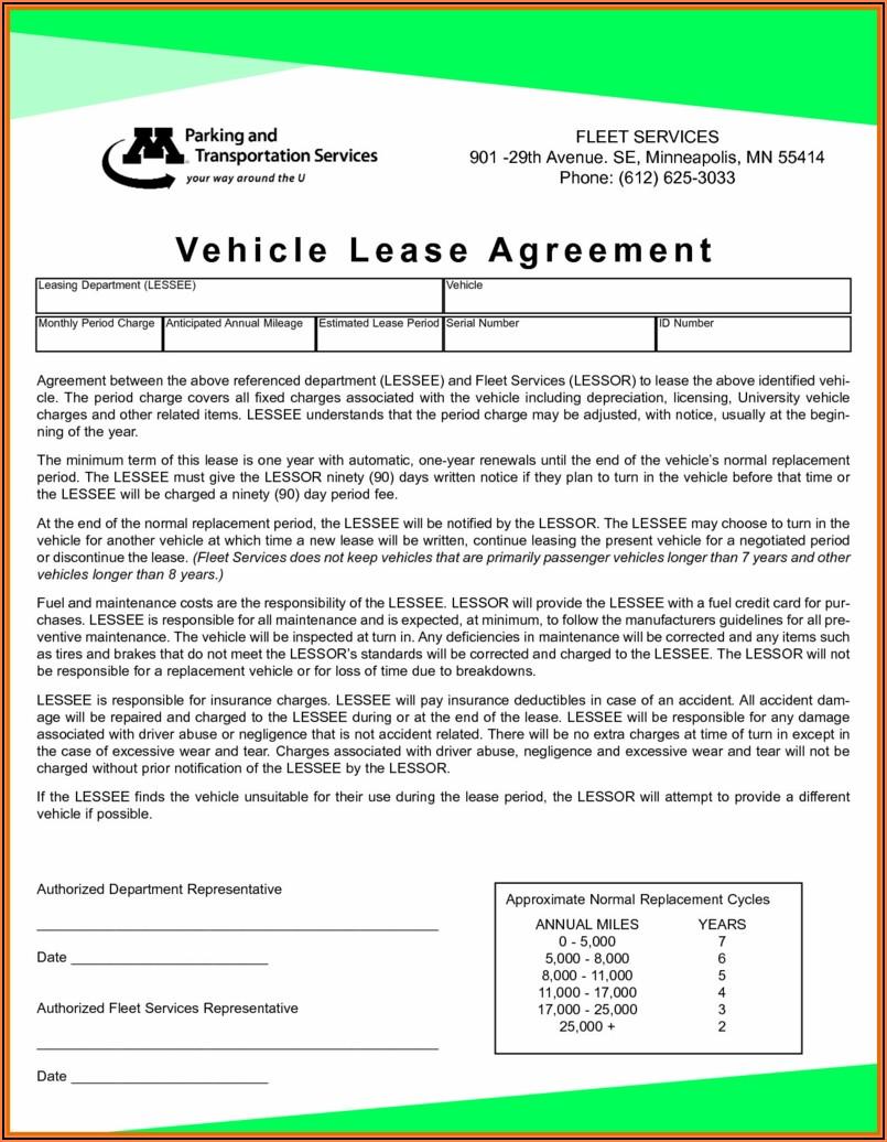Car Lease Agreement Form Pdf