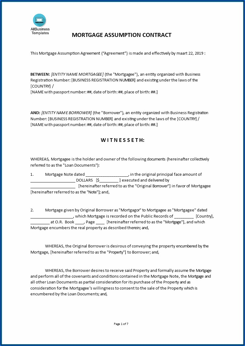 Car Loan Assumption Agreement Form