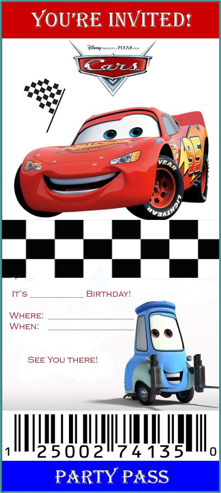 Cars Birthday Party Invitation Templates Free