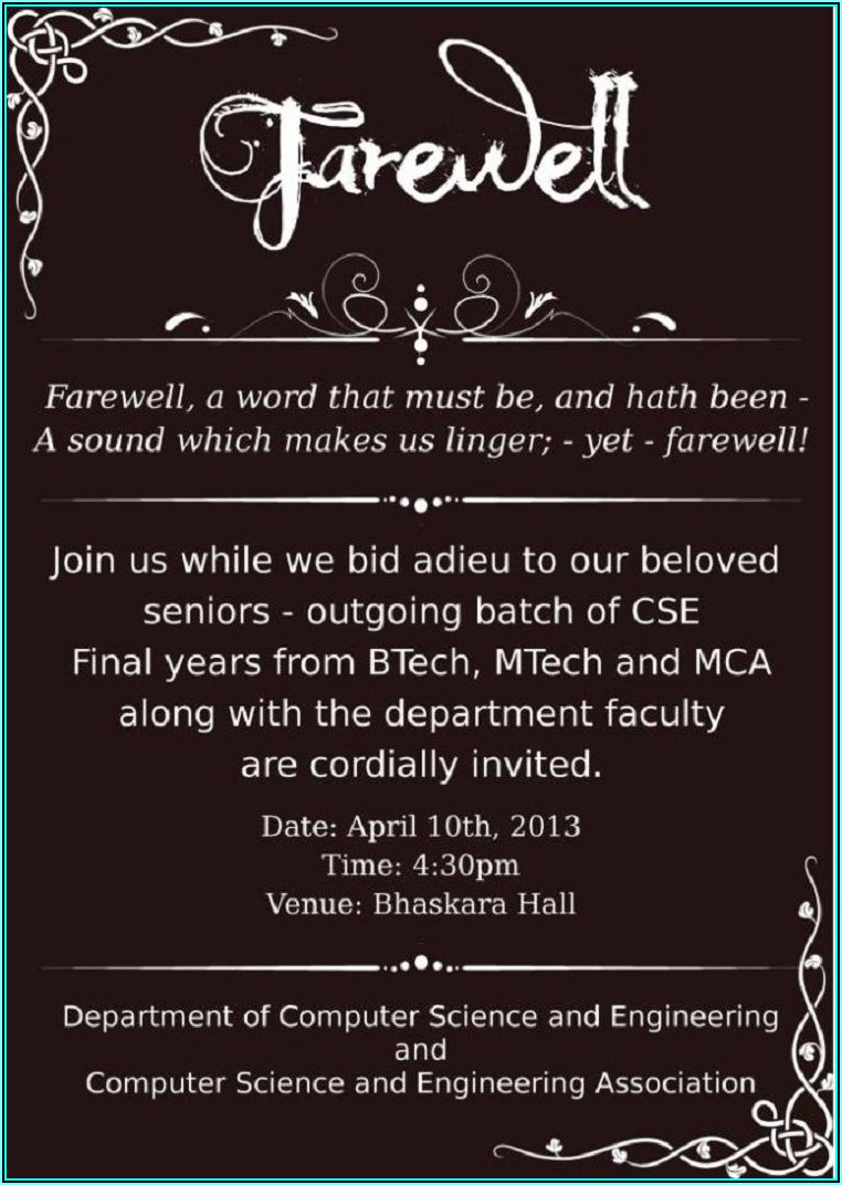College Farewell Invitation Templates
