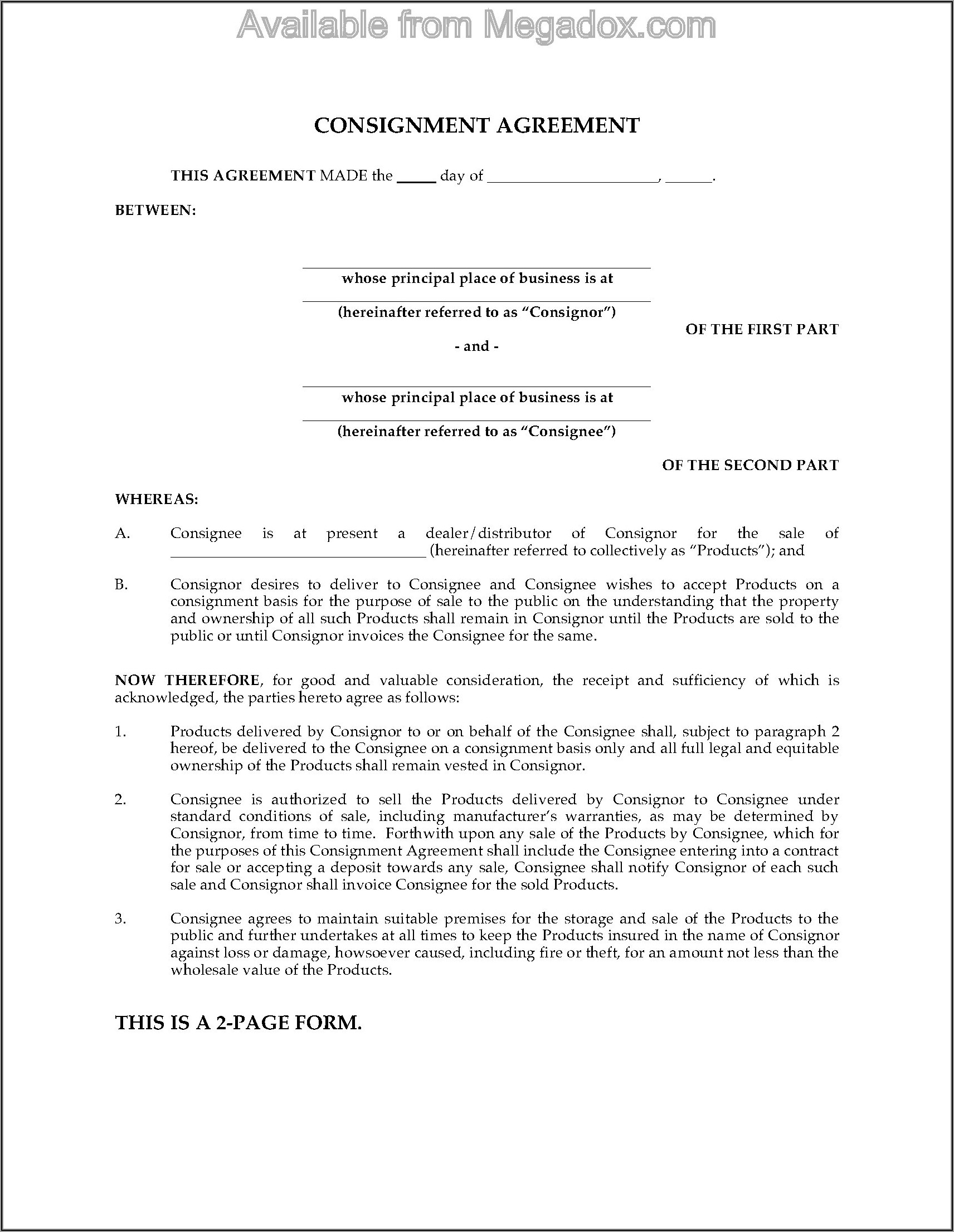 Consignment Sale Agreement Form