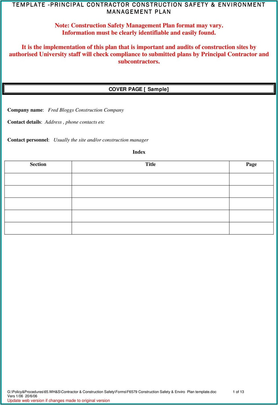 Contractor Safety Plan Template