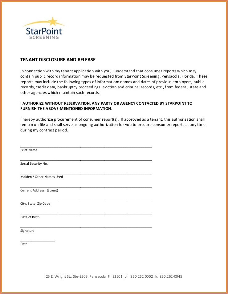 Credit Report Authorization Form For Tenants