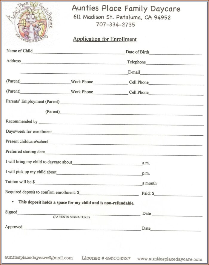 Daycare Contracts And Forms Free
