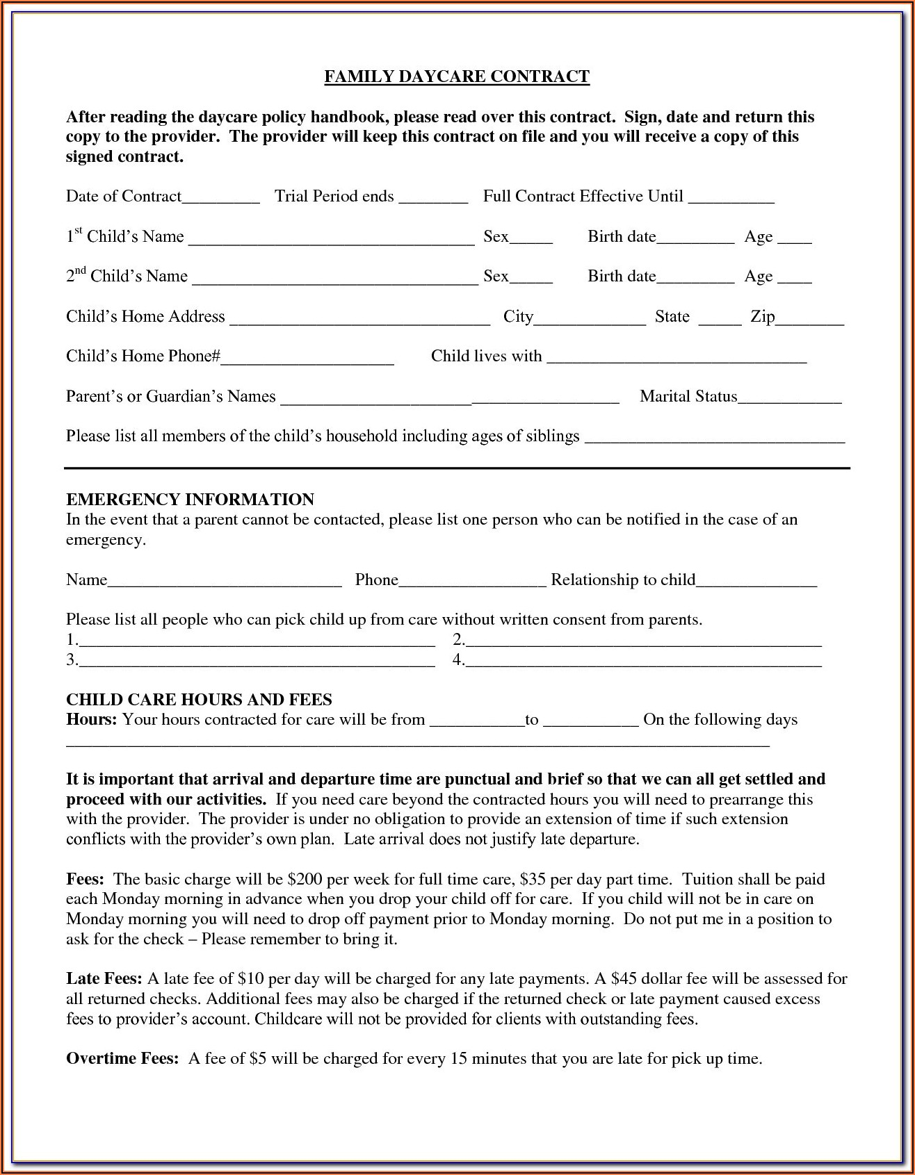 Daycare Contracts And Forms