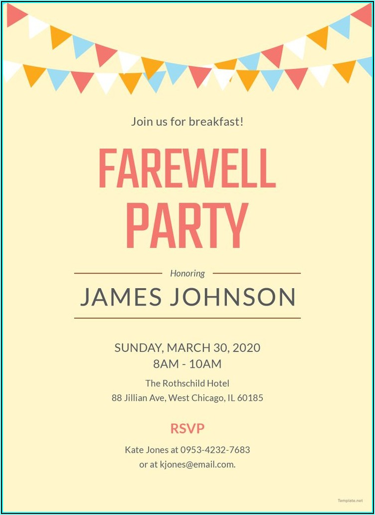 Editable Farewell Invitation Templates Free Download
