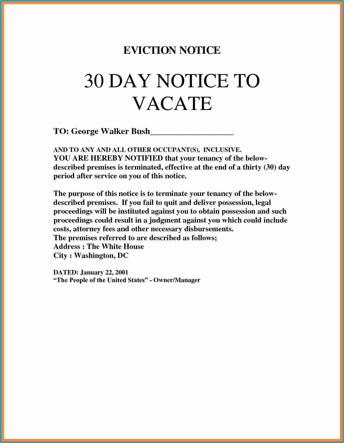 Eviction Notice Template Free Uk