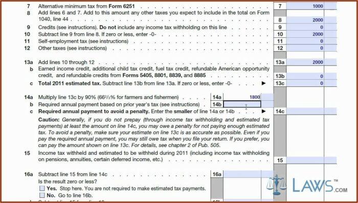 Fed Tax Form 1040 Es