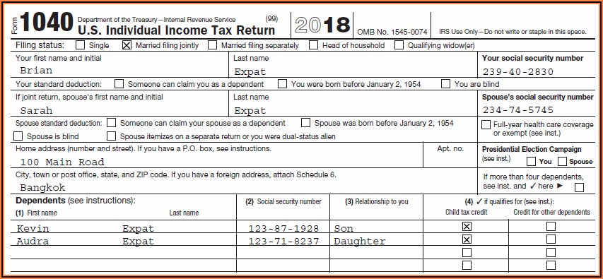 Fed Tax Forms 1040 For 2018