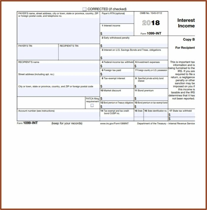 Federal Income Tax Form 1099 Int