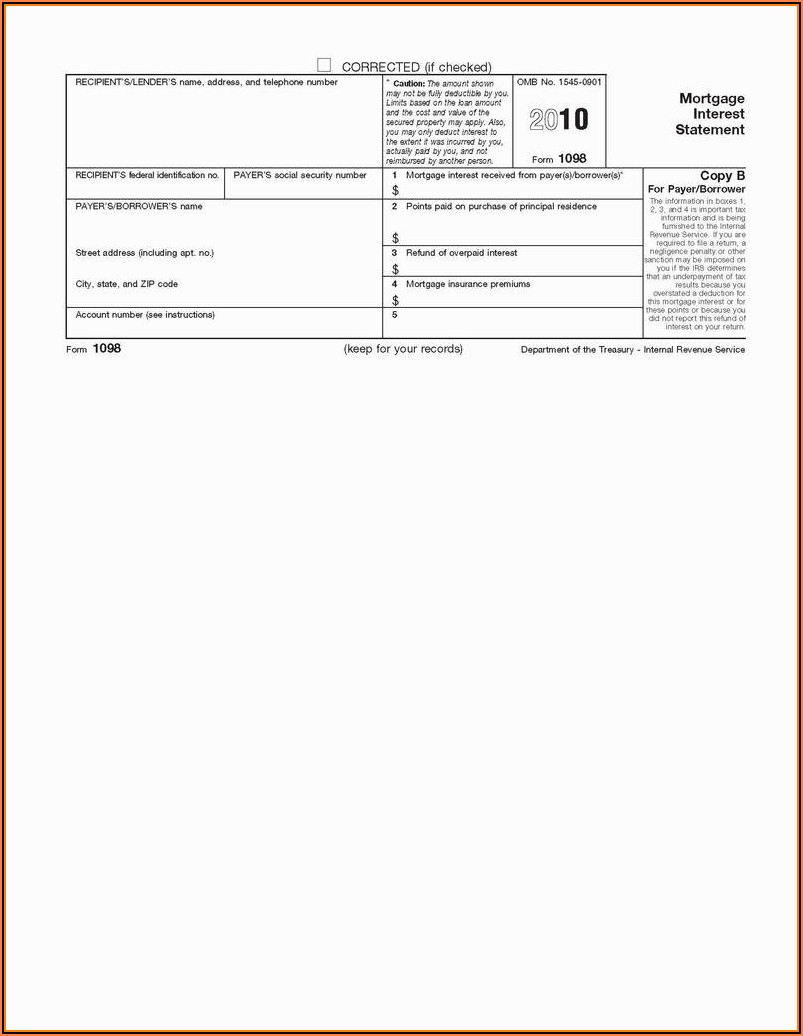 Fillable 1098 Mortgage Interest Form