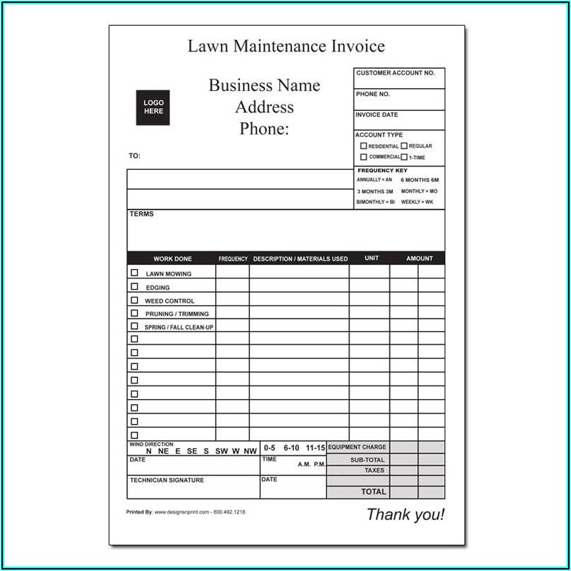Fillable Lawn Care Invoice Template