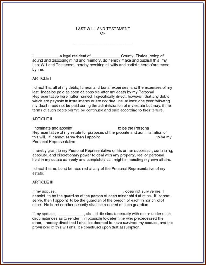 Florida Last Will And Testament Form Free