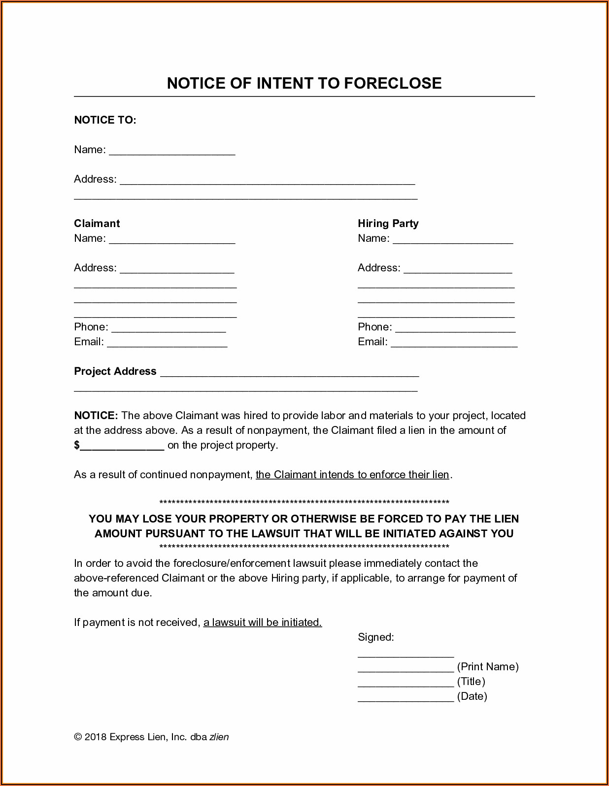 Florida Notice Of Intent To File A Lien Form