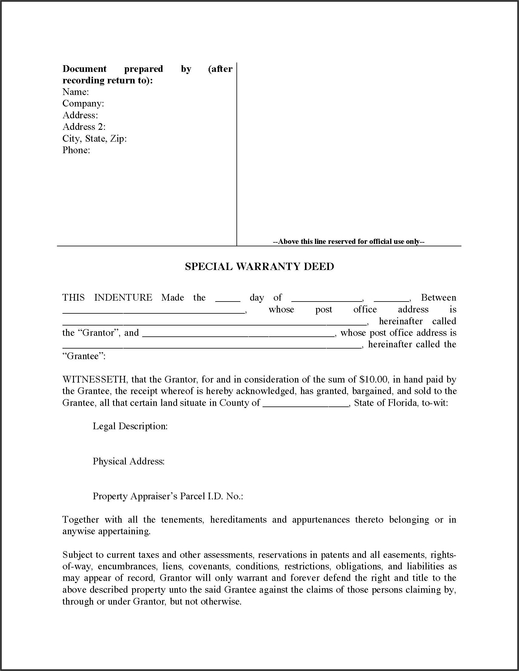 Florida Special Warranty Deed Form Free
