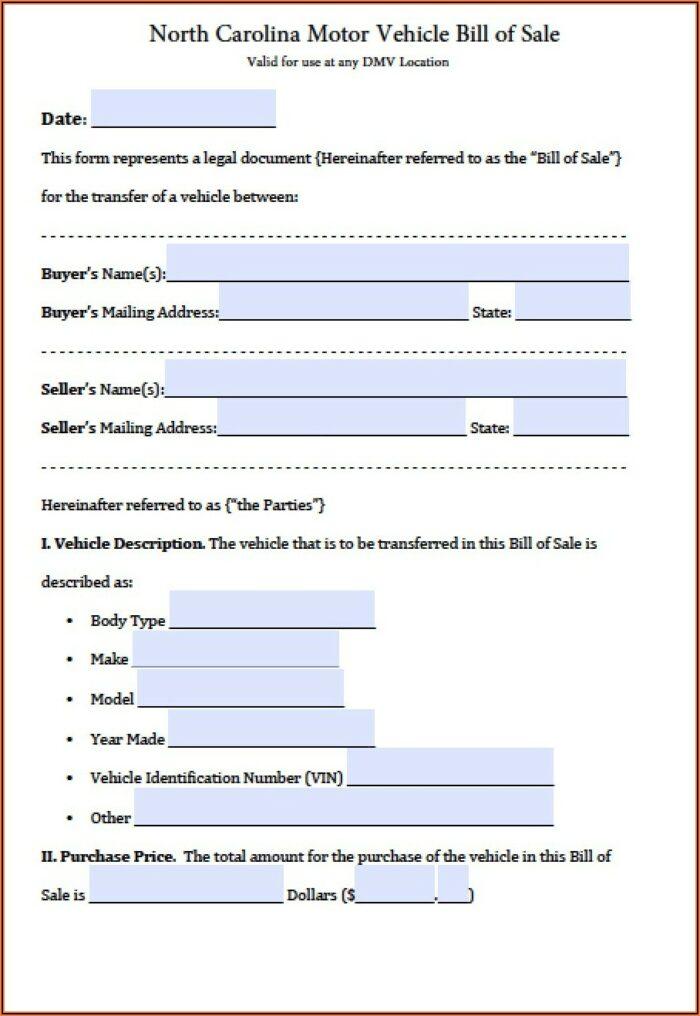 Free Bill Of Sale Form Nc