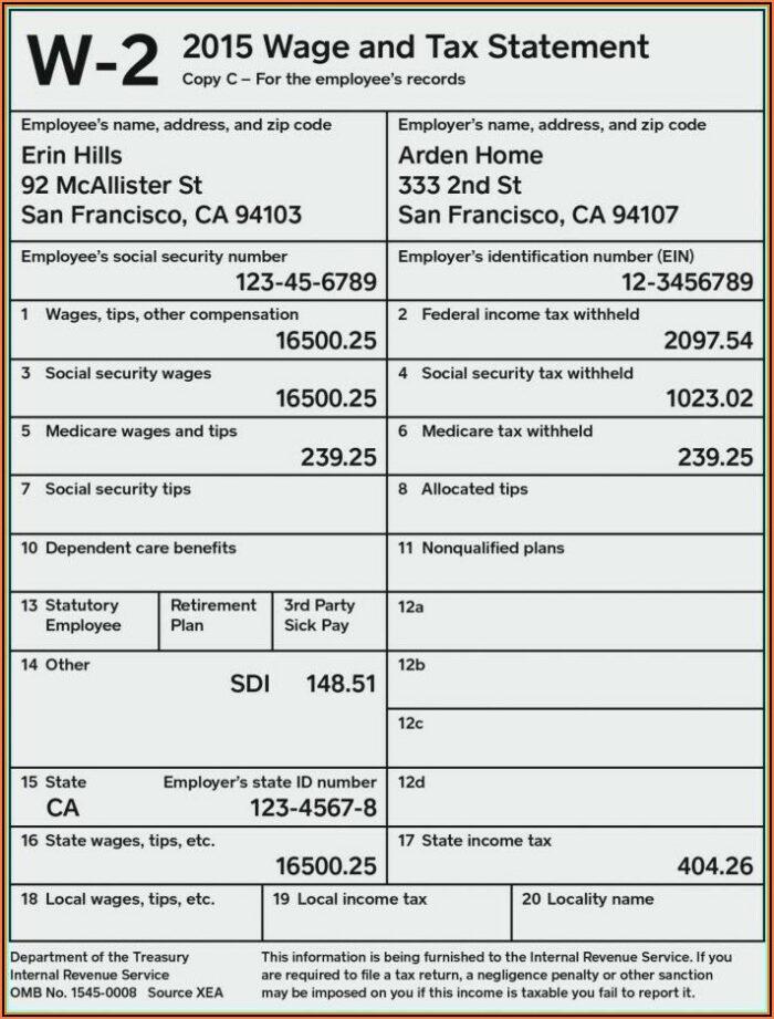 Free Blank 2015 W2 Forms