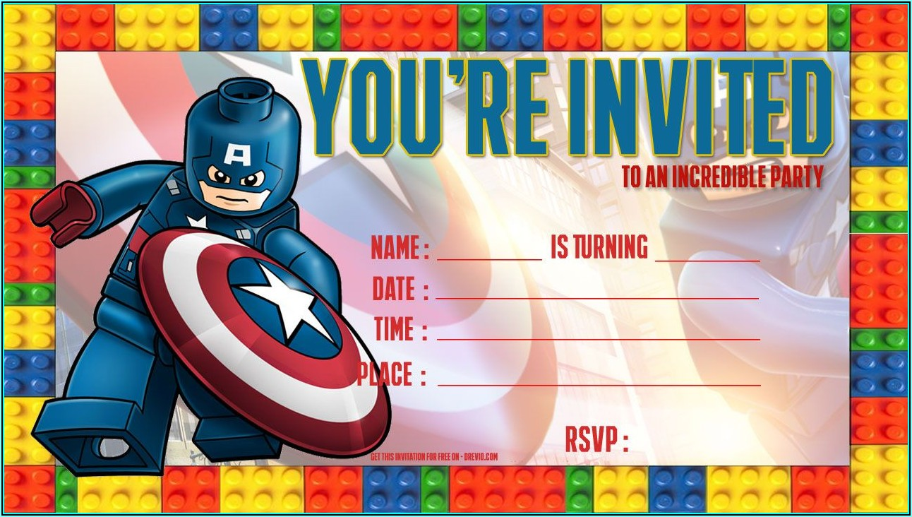 Free Captain America Birthday Invitation Template