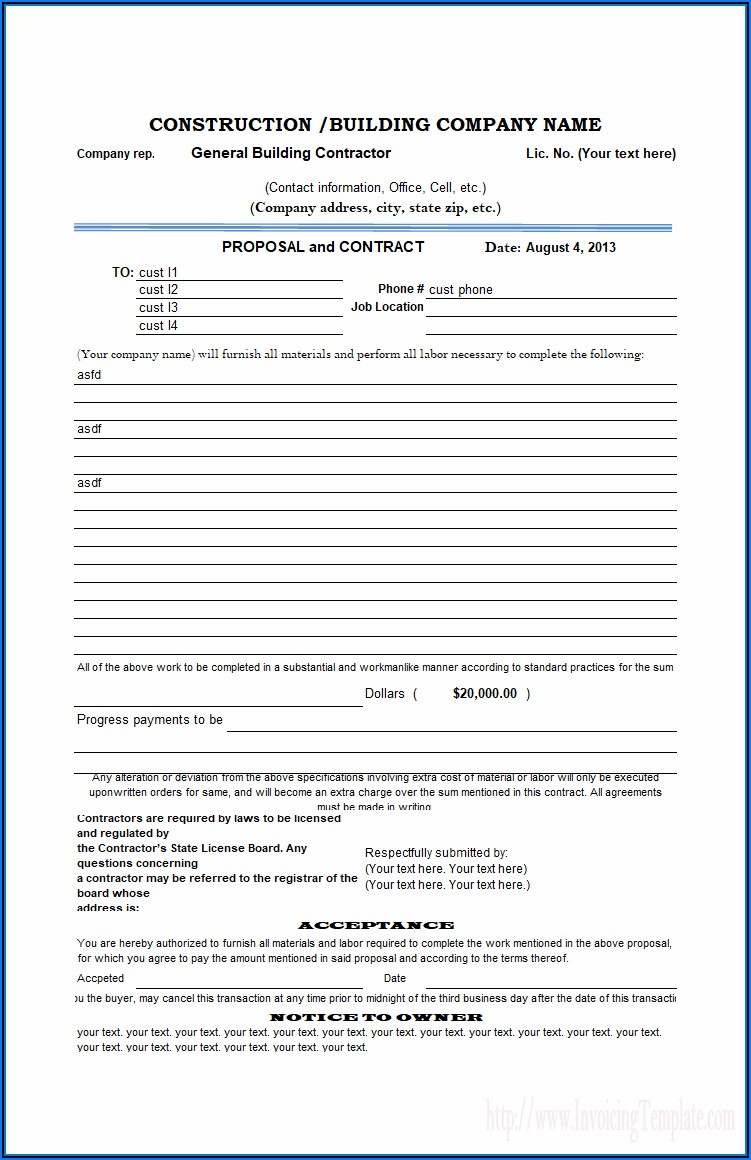 Free Downloadable Construction Proposal Forms