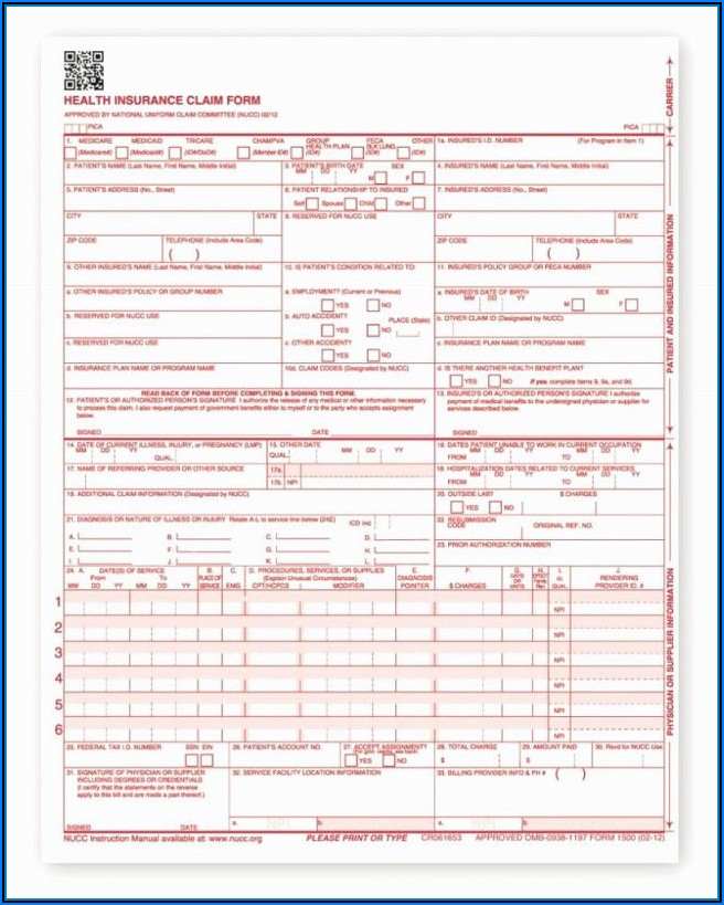 Free Fillable And Printable Cms 1500 Form