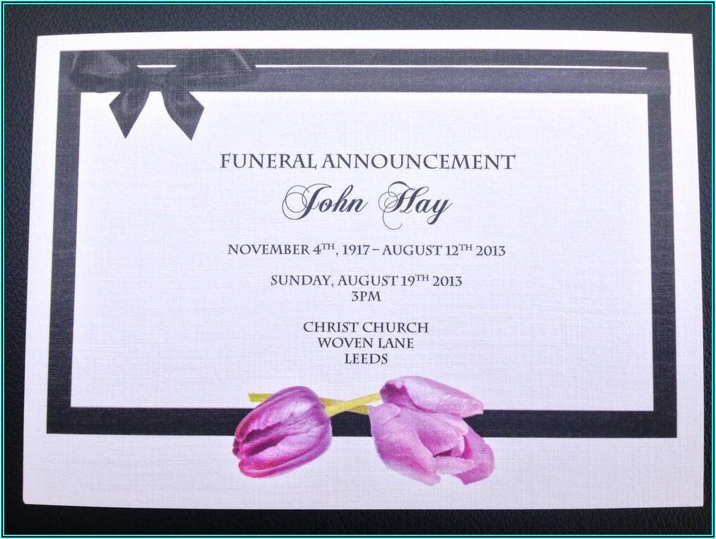 Free Funeral Invitation Templates Uk