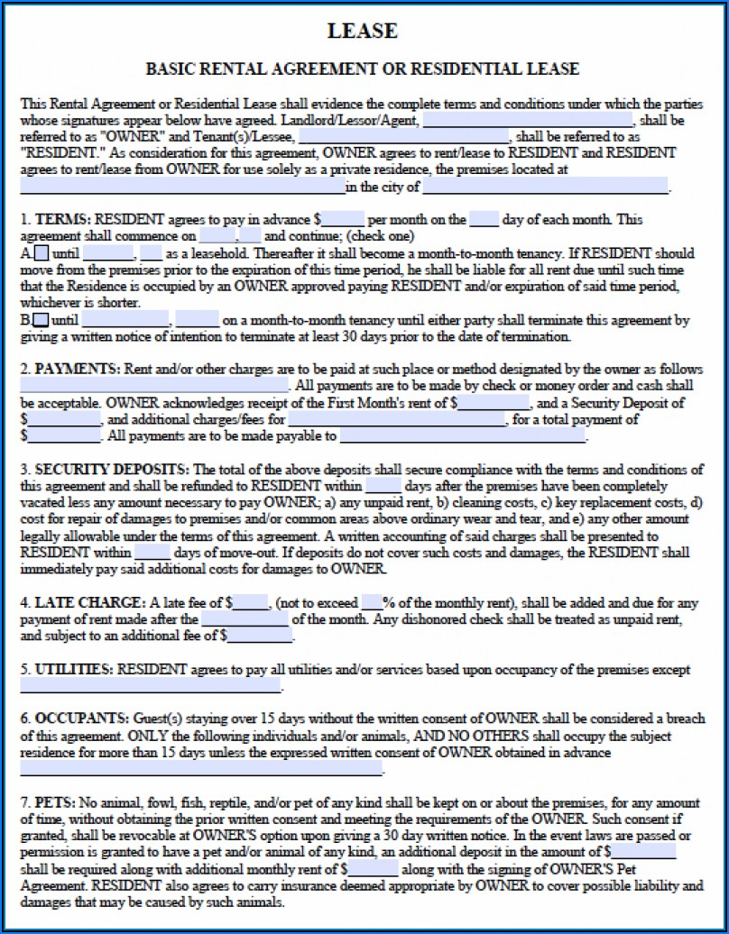 Free Ga Residential Lease Agreement Form