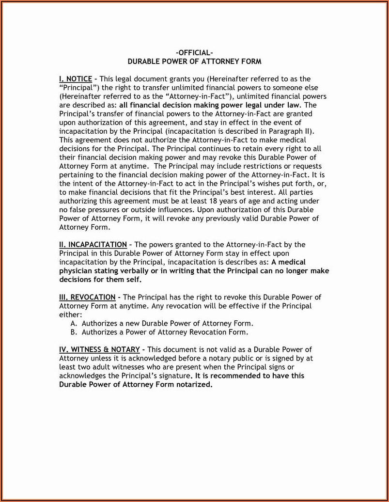 Free General Power Of Attorney Form Colorado