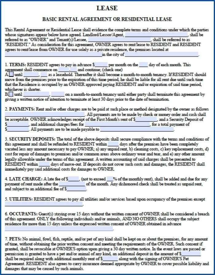 Free Georgia Residential Lease Agreement Forms