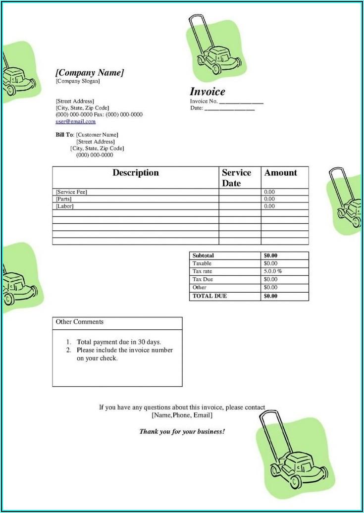 Free Lawn Invoice Template