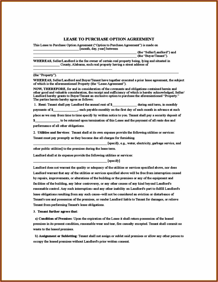 Free Lease Purchase Agreement Forms To Print