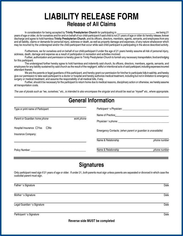 Free Liability Form Template