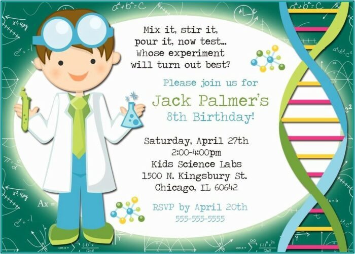 Free Mad Science Birthday Party Invitation Templates