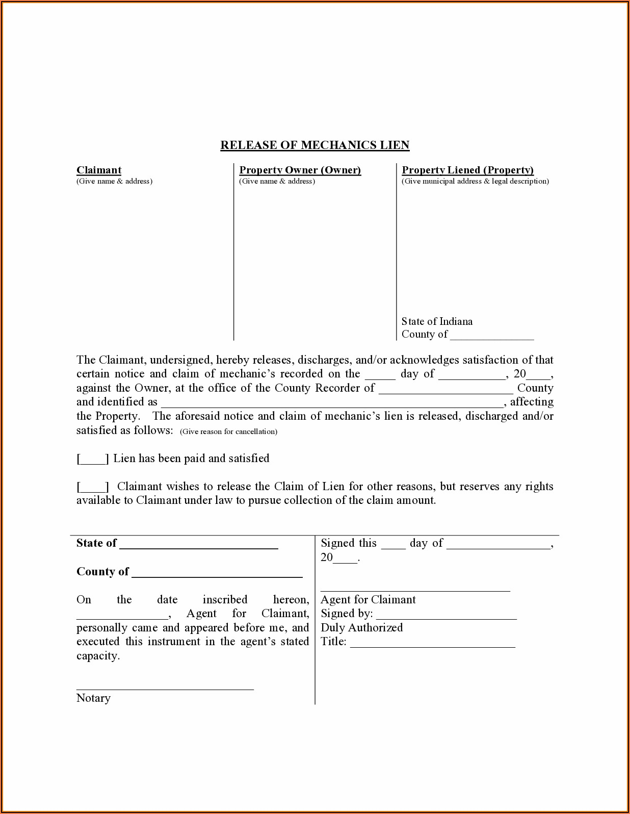 Free Mechanics Lien Form Indiana
