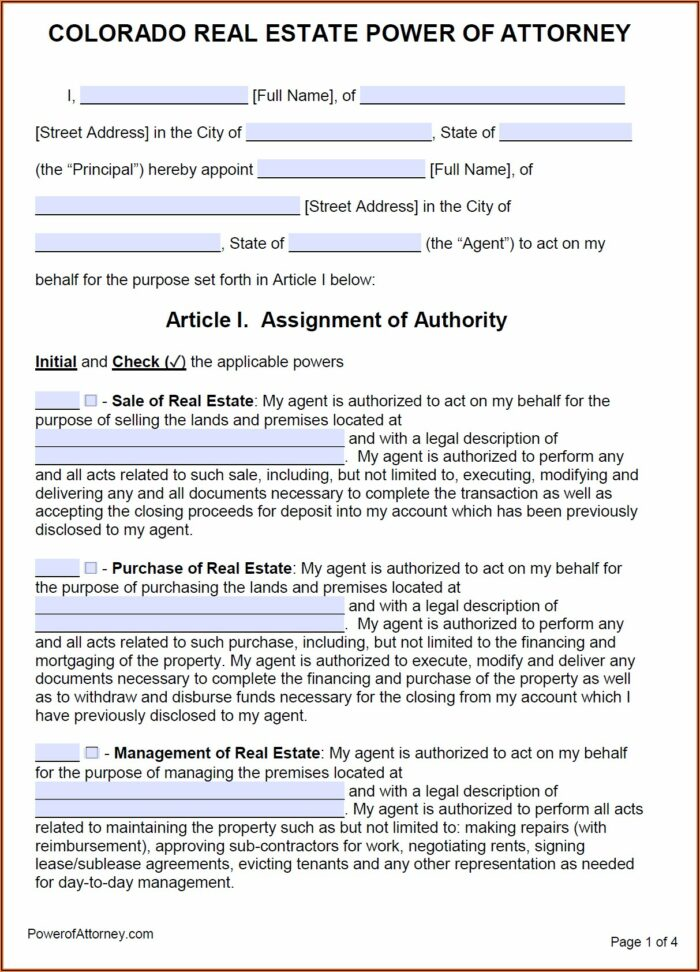 Free Power Of Attorney Form Colorado